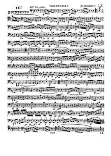 Quintet for Flute and Strings in D Minor, Op.94 No.3: parte violoncelo by Franz Krommer