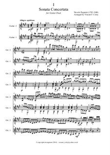 Concert Sonata for Guitar and Violin: Version for guitar duet – full score, MS 2 by Niccolò Paganini