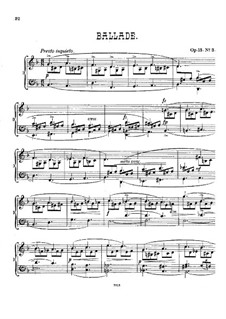 Pieces for Piano, Op.15: No.3 Ballade in F Major by Alexander Mackenzie