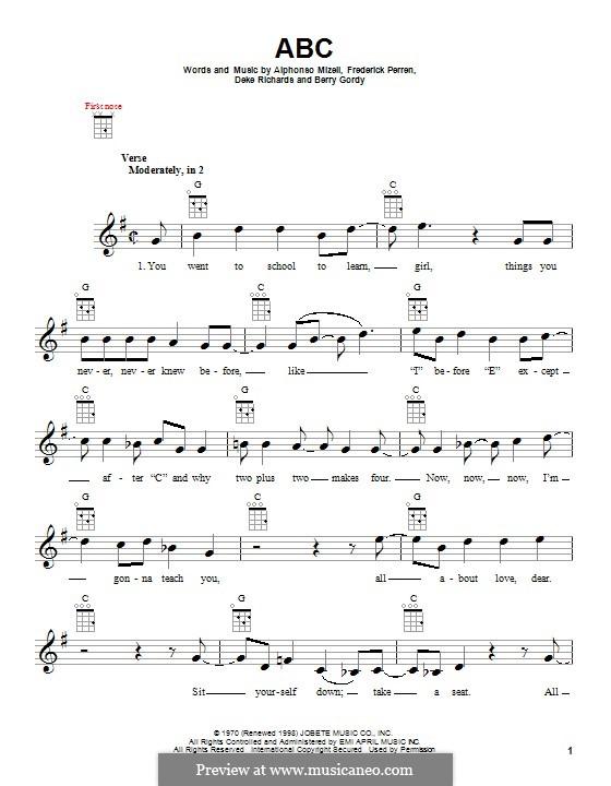 ABC (The Jackson 5): para ukulele by Alphonso Mizell, Berry Gordy, Deke Richards, Freddie Perren