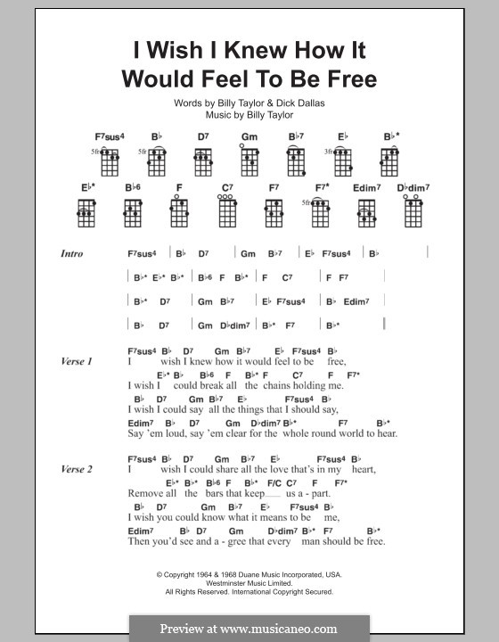 I Wish I Knew How it Would Feel to Be Free: para ukulele by Billy Taylor