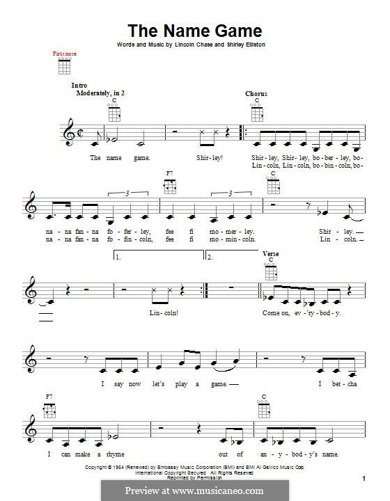 The Name Game (Shirley Ellis): para ukulele by Lincoln Chase, Shirley Elliston
