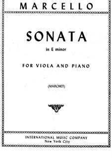 Six Sonatas for Cello (or Viola) and Basso Continuo, Op.1: Sonata No.2, for viola and piano by Benedetto Marcello