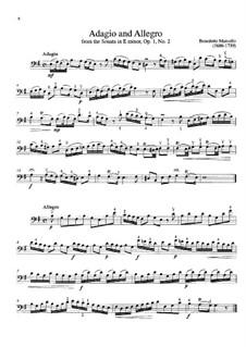 Six Sonatas for Cello (or Viola) and Basso Continuo, Op.1: Sonata No.2. Movement I – cello part by Benedetto Marcello