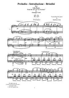 Preludio-Introduzione-Brindisi: For solo piano, CSGV1 by Giuseppe Verdi