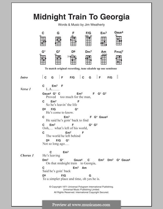 Midnight Train to Georgia (Gladys Knight and The Pips): para ukulele by Jim Weatherly