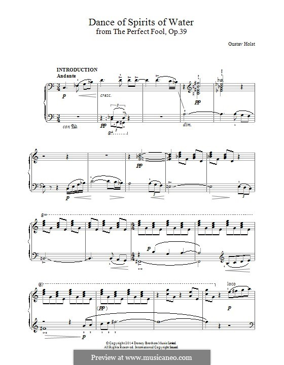 The Perfect Fool, Op.39: Dance of Spirits of Water, for piano by Gustav Holst