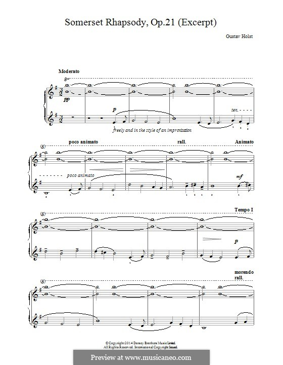 A Somerset Rhapsody, Op.21: Para Piano by Gustav Holst