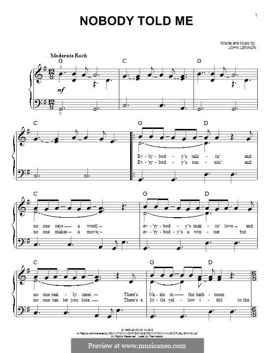 Nobody Told Me: Para Piano by John Lennon