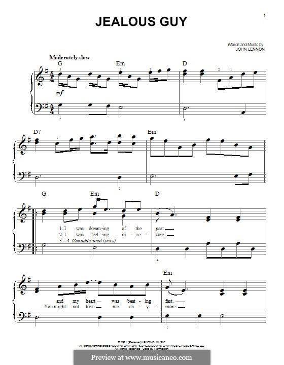 Jealous Guy: Para Piano by John Lennon