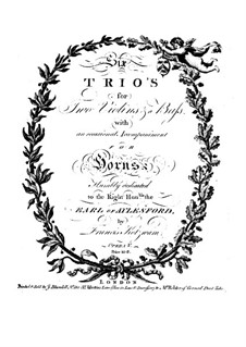 Six Trio Sonatas, Op.5: violino parte I by Franz Kotzwara