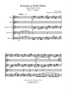 Serenade for Winds No.10 in B Flat Major, K.361: Adagio, for wind quintet by Wolfgang Amadeus Mozart
