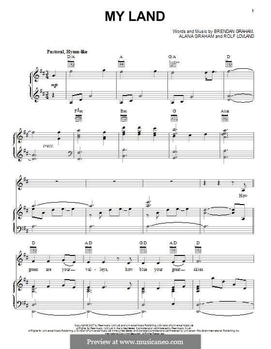 My Land: Para vocais e piano (ou Guitarra) by Brendan Graham, Rolf Løvland, Alana Graham