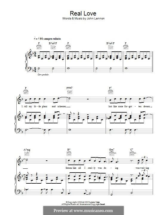 Real Love (The Beatles): Para vocais e piano (ou Guitarra) by John Lennon