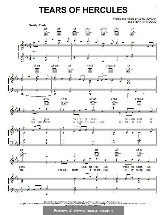 Tears of Hercules: Para vocais e piano (ou Guitarra) by Stephan Moccio, Marc Jordan