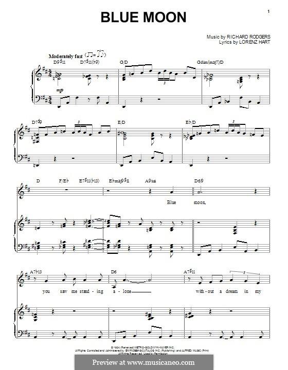 Blue Moon: Para vocais e piano by Richard Rodgers