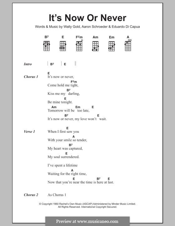 It's Now or Never (Elvis Presley): para ukulele by Eduardo di Capua, Aaron Schroeder, Wally Gold