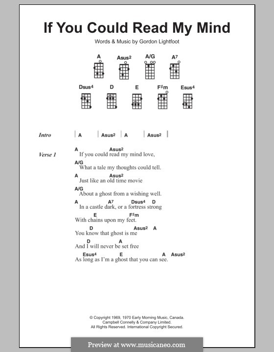 If You Could Read My Mind: para ukulele by Gordon Lightfoot