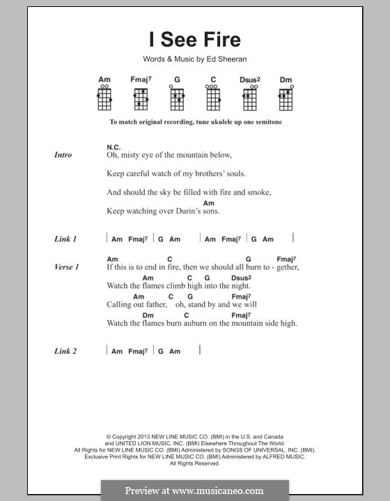 I See Fire (from The Hobbit): para ukulele by Ed Sheeran