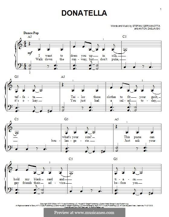 Donatella (Lady Gaga): Para Piano by Stefani Germanotta, Anton Zaslavski