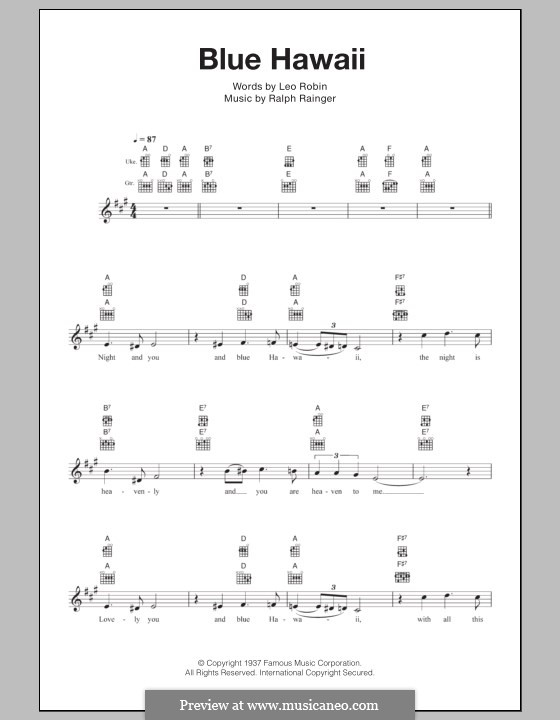 Blue Hawaii (Elvis Presley): para ukulele by Leo Robin, Ralph Rainger