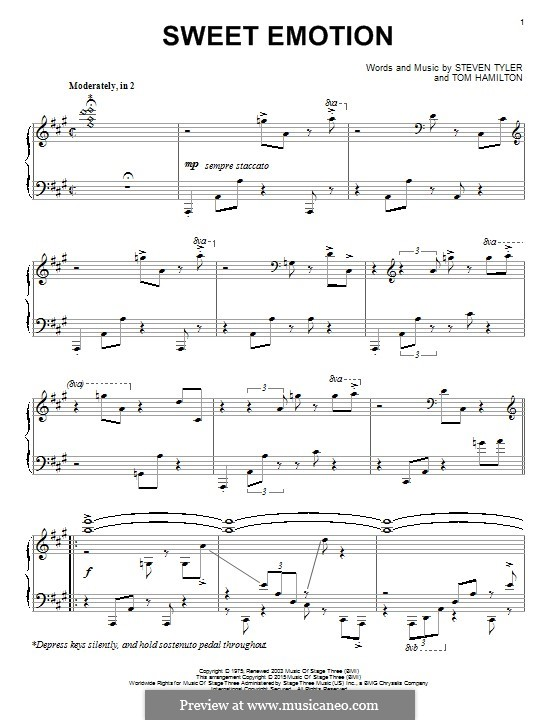 Sweet Emotion (Aerosmith): Para Piano by Steven Tyler, Tom Hamilton