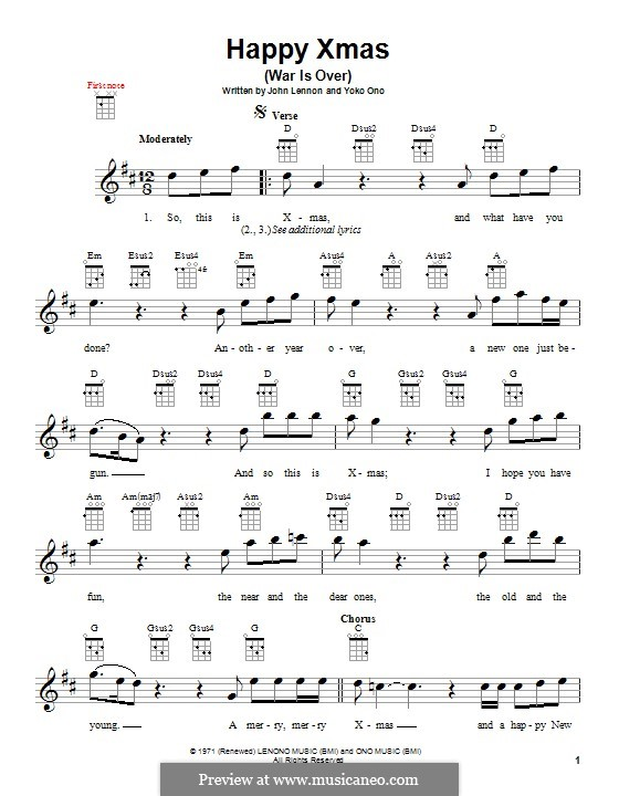 Happy Xmas (War Is Over): para ukulele by John Lennon, Yoko Ono