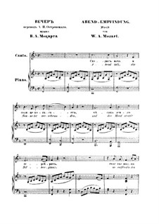Abendempfindung, K.523: Partitura Piano-vocal by Wolfgang Amadeus Mozart