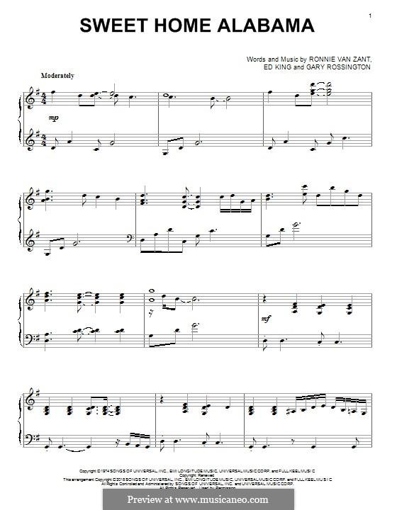 Sweet Home Alabama (Lynyrd Skynyrd): Para Piano by Ed King, Gary Rossington, Ronnie Van Zant