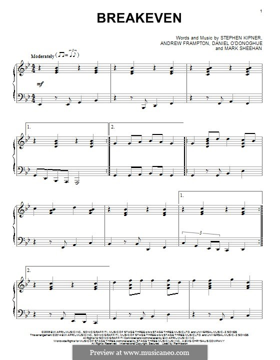 Breakeven (The Script): Para Piano by Andrew Frampton, Danny O'Donoghue, Mark Sheehan, Stephen Alan Kipner