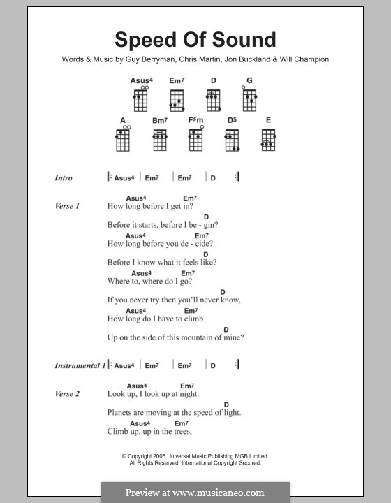Speed of Sound (Coldplay): para ukulele by Chris Martin, Guy Berryman, Jonny Buckland, Will Champion