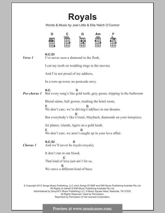 Royals (Lorde): para ukulele by Ella Yelich-O'Connor, Joel Little