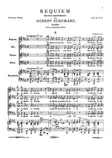 Requiem in D Flat Major, Op.148: Partitura piano-vocal by Robert Schumann