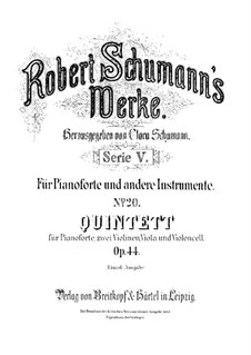 Piano Quintet in E Flat Major, Op.44: Partitura completa by Robert Schumann