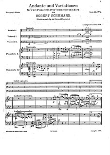 Andante and Variations for Two Pianos, Two Cellos and French Horn, Op.46: Partitura completa by Robert Schumann