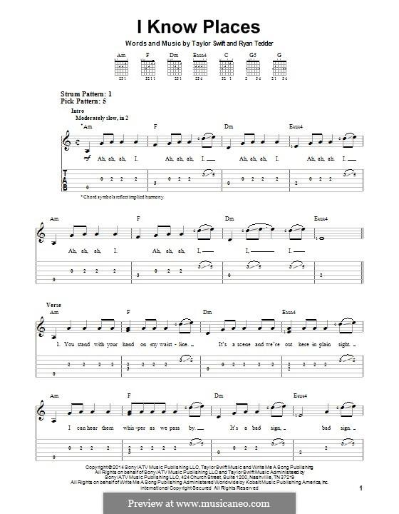 I Know Places: Para guitarra com guia by Ryan B Tedder, Taylor Swift