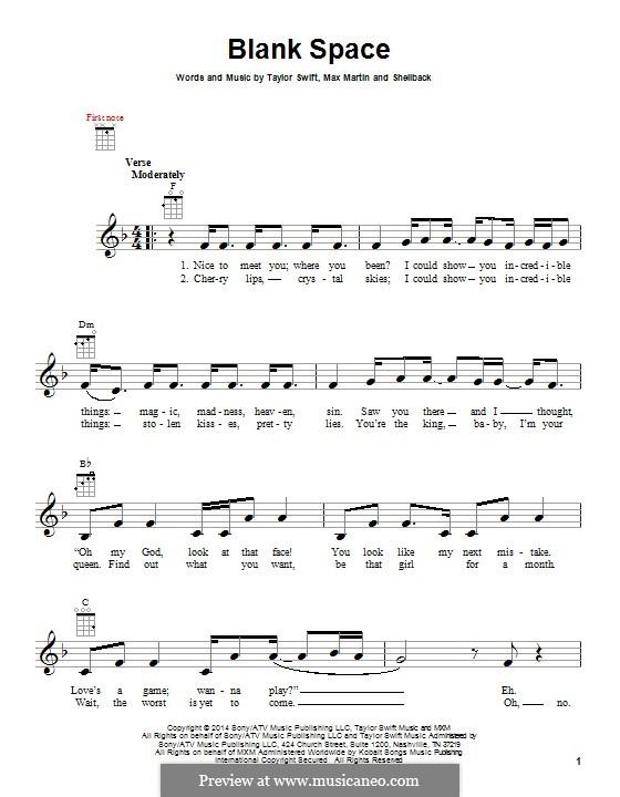 Blank Space: para ukulele by Shellback, Max Martin, Taylor Swift