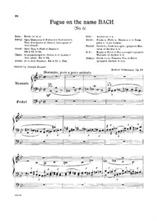 Six Fugues on Name 'Bach', Op.60: Fugue No.6 by Robert Schumann