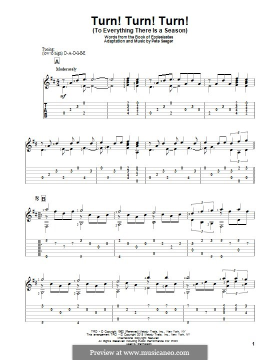 Turn! Turn! Turn! (To Everything There Is a Season): Para guitarra com guia by Peter Seeger