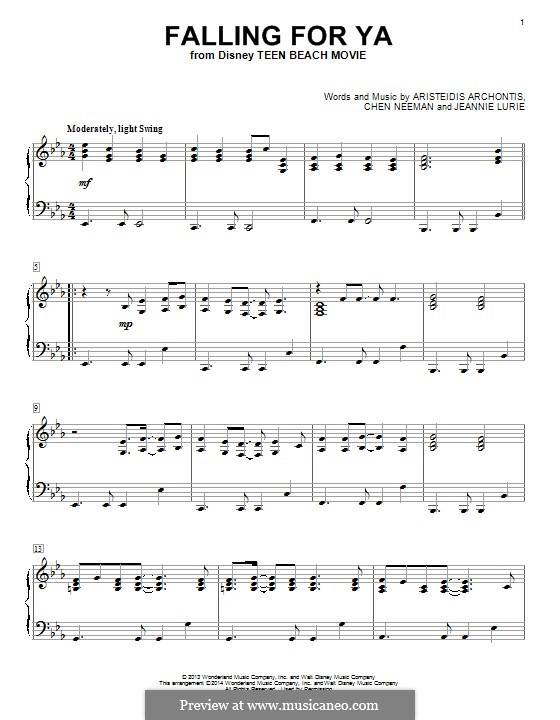 Falling for Ya (from Teen Beach Movie): Para Piano by Aris Archontis, Chen Neeman, Jeannie Lurie