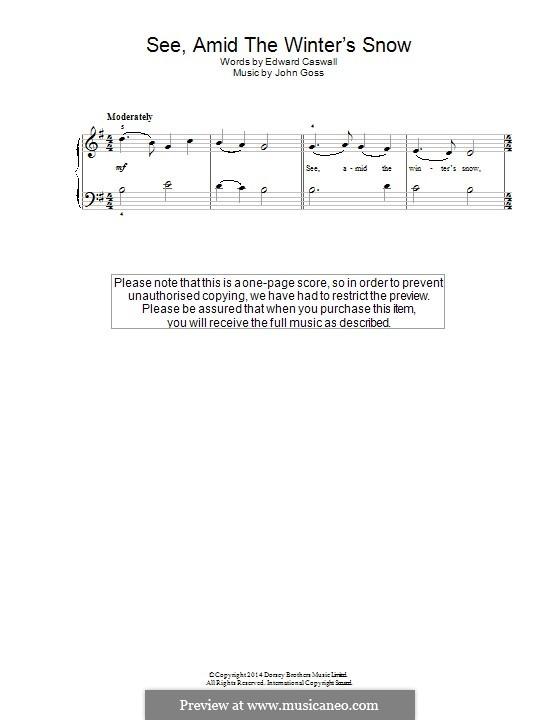 See Amid the Winter's Snow: Para Piano by John Goss