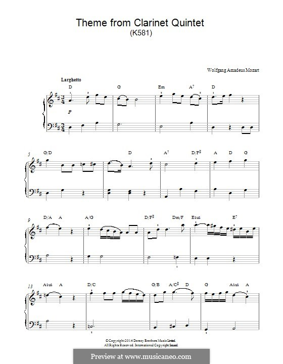 Quintet for Clarinet and Strings in A Major, K.581: Movement II, for easy piano (fragment) by Wolfgang Amadeus Mozart
