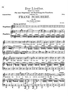 Der Liedler (The Minstrel), D.209 Op.38: Para vocais e piano by Franz Schubert