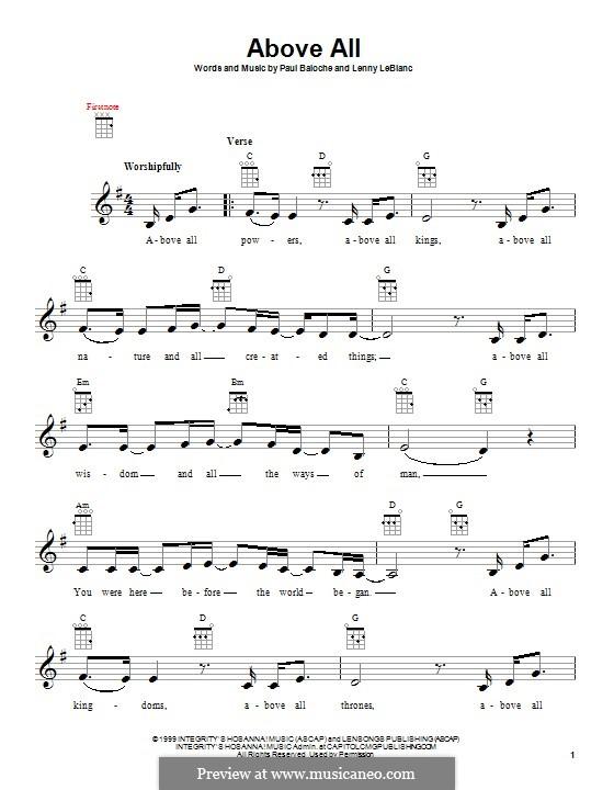 Above All: para ukulele by Paul Baloche, Lenny LeBlanc