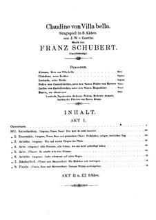 Claudine von Villa Bella, D.239: abertura by Franz Schubert