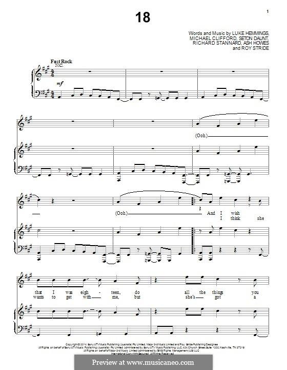 18 (5 Seconds of Summer): Para vocais e piano (ou Guitarra) by Ashley Howes, Richard Stannard, Roy Stride, Michael Clifford, Luke Hemmings, Seton Daunt