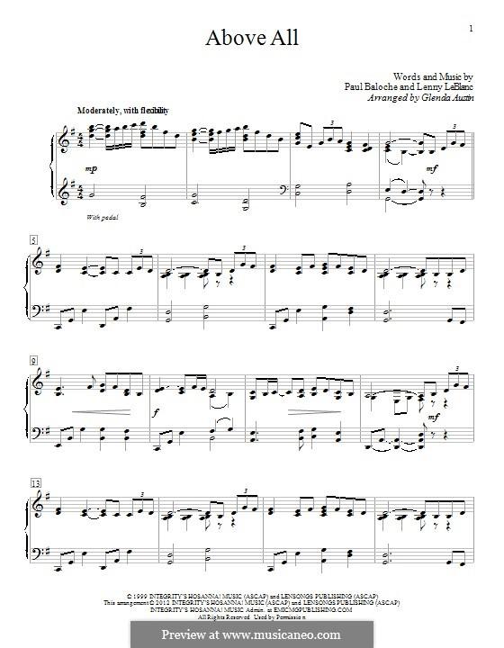 Above All: Para Piano by Paul Baloche, Lenny LeBlanc