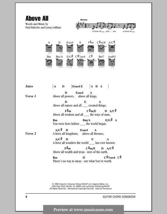 Above All: Letras e Acordes by Paul Baloche, Lenny LeBlanc