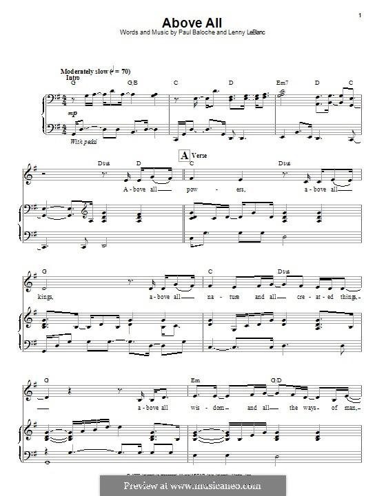 Above All: Para vocais e piano by Paul Baloche, Lenny LeBlanc