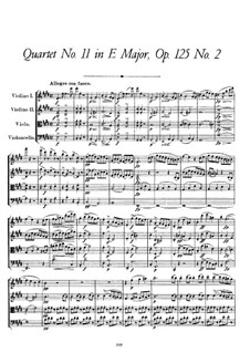 String Quartet No.11 in E Major, D.353 Op.125 No.2: Partitura completa by Franz Schubert